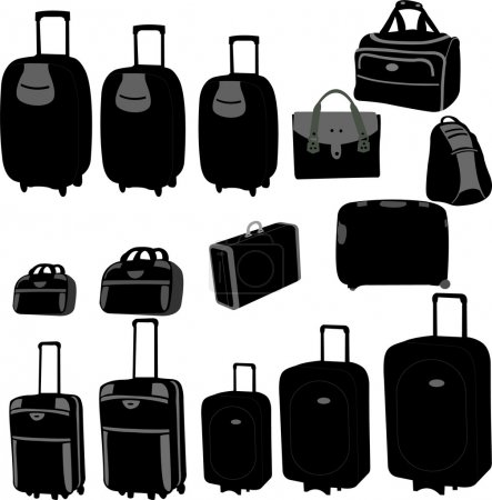 Illustration for Black silhouettes of travel bags - vector - Royalty Free Image