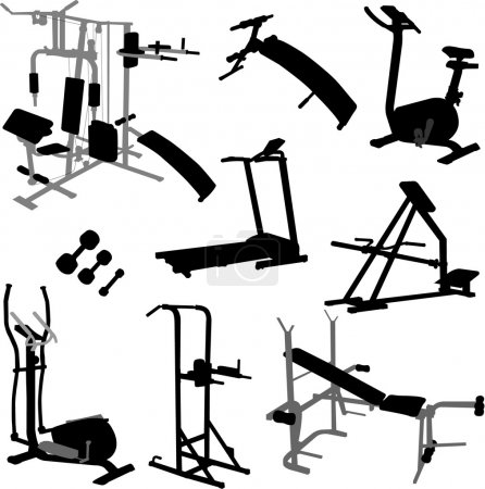 Illustration for Collection silhouettes of gym equipment - vector - Royalty Free Image