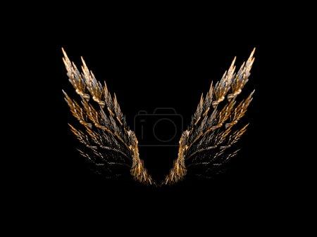 Photo pour Paire d'ailes d'oiseaux ouvertes sur fond noir . - image libre de droit