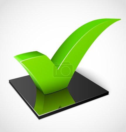 Illustration for 3d green check mark symbol. Vector illustration - Royalty Free Image