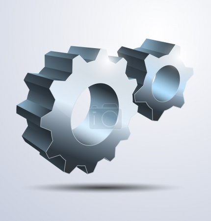 Illustration for Icon of two 3d gears. Vector illustration - Royalty Free Image
