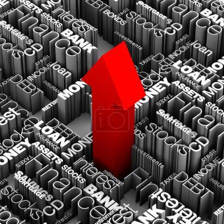 Photo pour 3D mots financières et réconcilier avec la grande flèche rouge tir vers le haut du centre. - image libre de droit