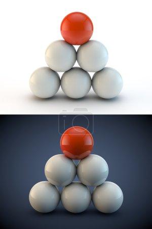 Balls 3d render illustration on white and blue background