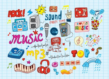 Photo pour Grand ensemble vectoriel : Illustrations musicales croquantes - image libre de droit