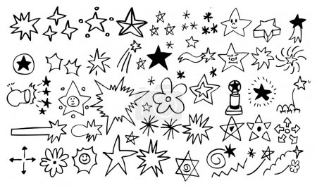 Illustration for Doodle star element set - Royalty Free Image