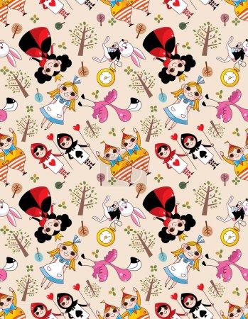 seamless Alice in Wonderland pattern