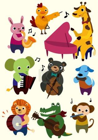 Illustration pour Bande dessinée musique animal icône - image libre de droit