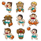 Kreslený basketbalový hráč ikona