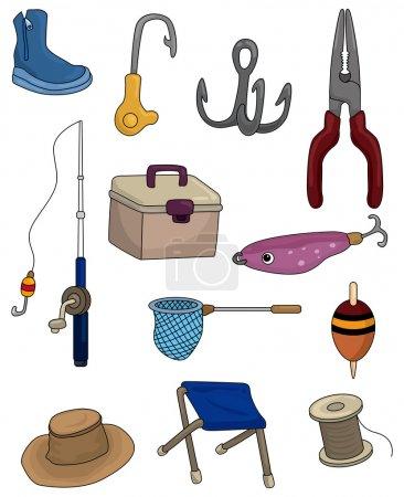 Illustration pour Dessin animé Pêche icônes ensemble - image libre de droit