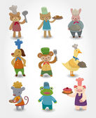 cartoon animal chef icons set