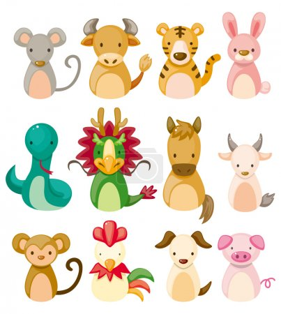 12 animal icon set,Chinese Zodiac animal ,