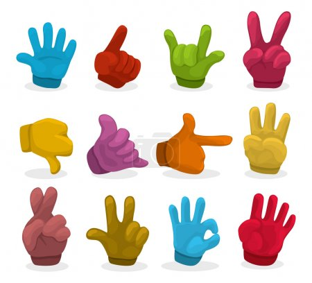 Illustration for Cartoon color Hands collection ,vector - Royalty Free Image