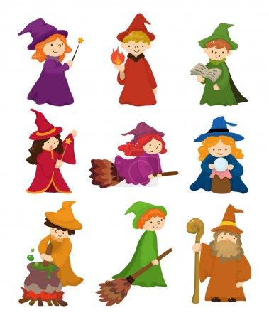 Illustration pour Jeu d'icônes magicien de dessin animé et sorcière - image libre de droit