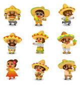 cartoon Mexican icon set