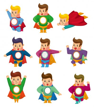 Illustration for Cartoon superman icons - Royalty Free Image