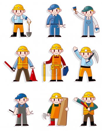 Illustration for Cartoon worker icon - Royalty Free Image