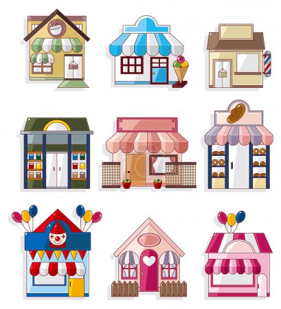 Cartoon house shop icons collection