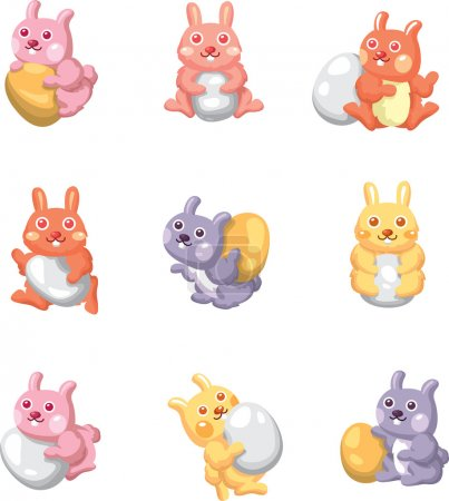Cartoon easter rabbit and egg icon...