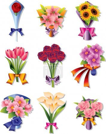 Illustration for Flower bouquet icons - Royalty Free Image