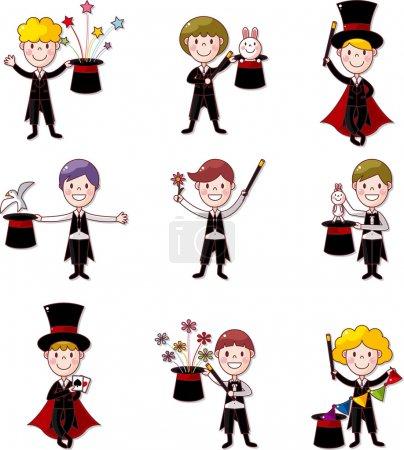 Illustration pour Ensemble de magicien de bande dessinée - image libre de droit