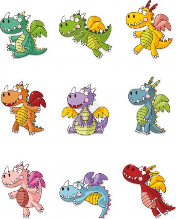 Illustration for Cartoon fat fire dragon icon set - Royalty Free Image