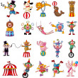 Cartoon happy circus show icons collection...