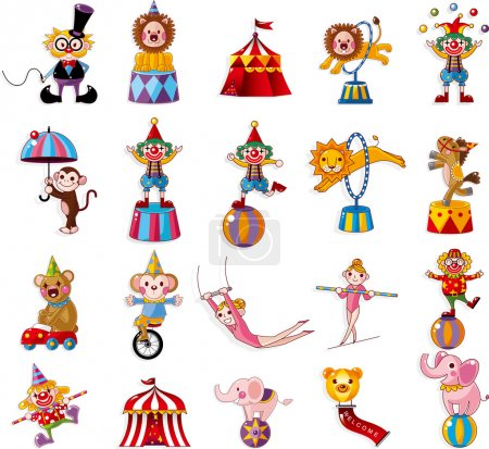 Illustration for Cartoon happy circus show icons collection - Royalty Free Image