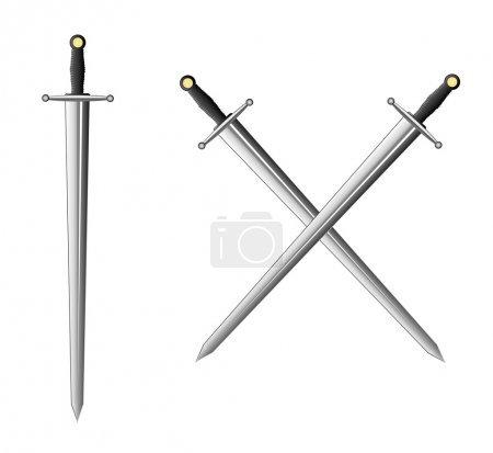 Sword and two crossed swords