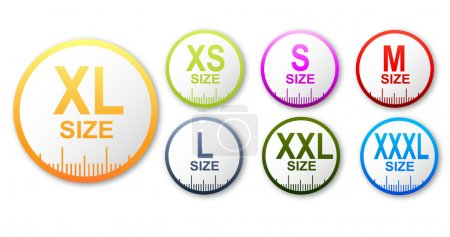Size clothing stickers set