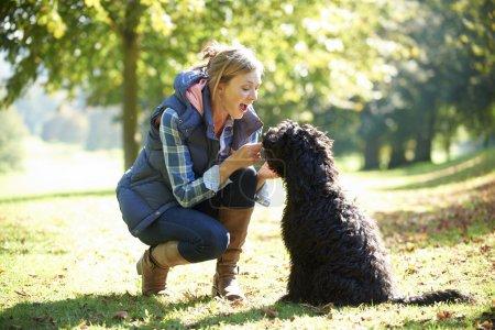 Photo pour Femme avec chien noir lors d'une promenade dans le parc - image libre de droit