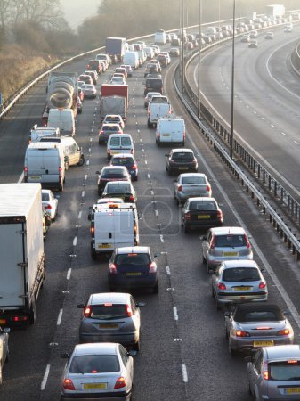 Photo for England January 2009:traffic jam on one side of M40 in Buckinghamshire - Royalty Free Image