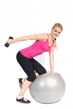 Standing Bent-Over Dumbbell Triceps Extension on Fitnes Ball, ph