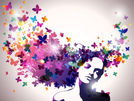 Portrait of Woman with butterflies flying from her hair.