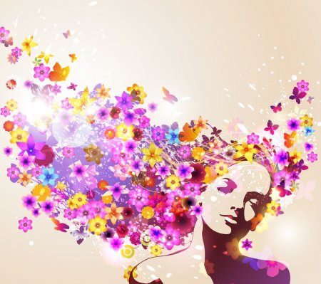 Illustration for Portrait of beautiful young woman in sensual state covered with flowers - Royalty Free Image
