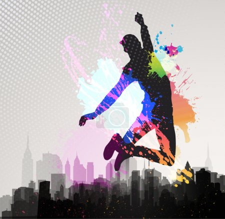 Illustration for Young man jumping over city background. - Royalty Free Image