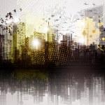 Grunge city panorama....