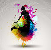Two girl jumping over ink splash background