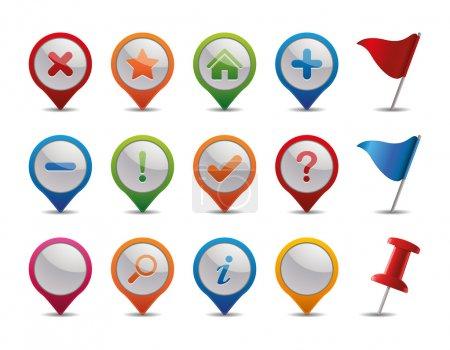 Photo pour Icônes GPS + drapeaux et épingle droite - image libre de droit