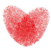 Red fingerprint heart shape on white background