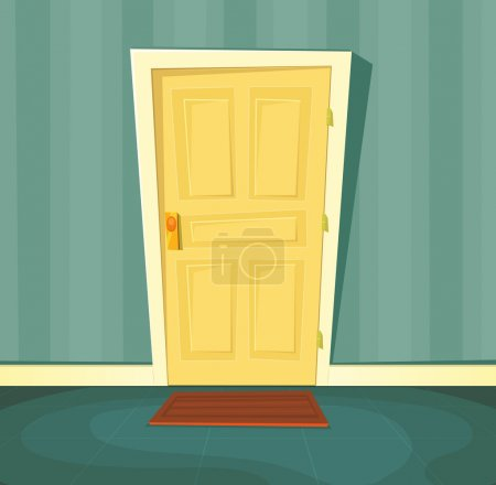 Illustration of a cartoon front door inside house ...