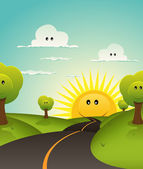 Illustration of a cute childish spring or summer landscape with happy smiling clouds trees and sun characters