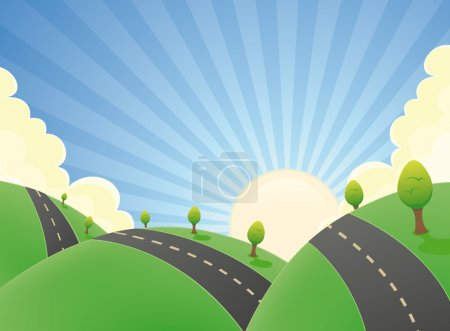 Cartoon Landscape Road In The Summer