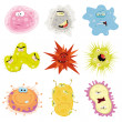 Illustration of a cartoon set of various funny mic...