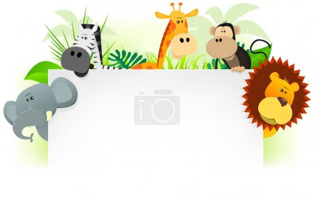 Illustration for Illustration of cute cartoon wild animals from african savannah, including lion, elephant,giraffe, monkey and zebra with jungle background. For use as letterhead - Royalty Free Image