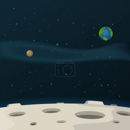 Illustration for Illustration of a cartoon moon surface with galaxy, milky way and planets behind - Royalty Free Image