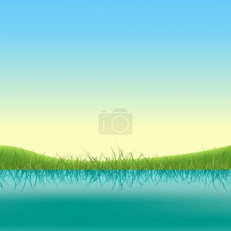 Illustration of a spring or summer lake banner wit...