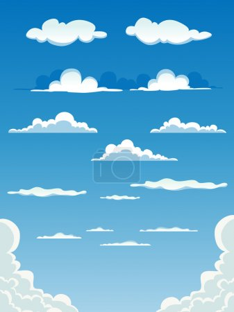 Illustration for Illustration of a collection of various vector cartoon clouds on a blue sky background. - Royalty Free Image