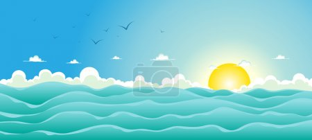 Illustration for Illustration of a cartoon wide ocean for spring, or summer holiday vacations header, with seagulls, rough sea, foam and sunlight - Royalty Free Image