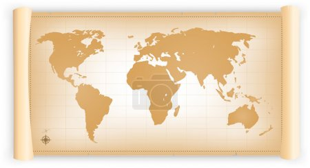 Illustration pour Illustration d'un planisphère du vieux monde sur un vieux parchemin - image libre de droit