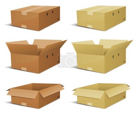 Ilustración de Ilustración de un conjunto de varios entrega caja de cartón, abiertos y cerrados en dos colores - Imagen libre de derechos